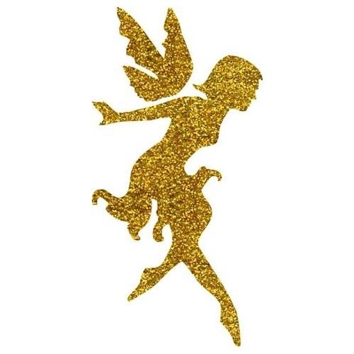 Good golden-ink jumping fairy tattoo design