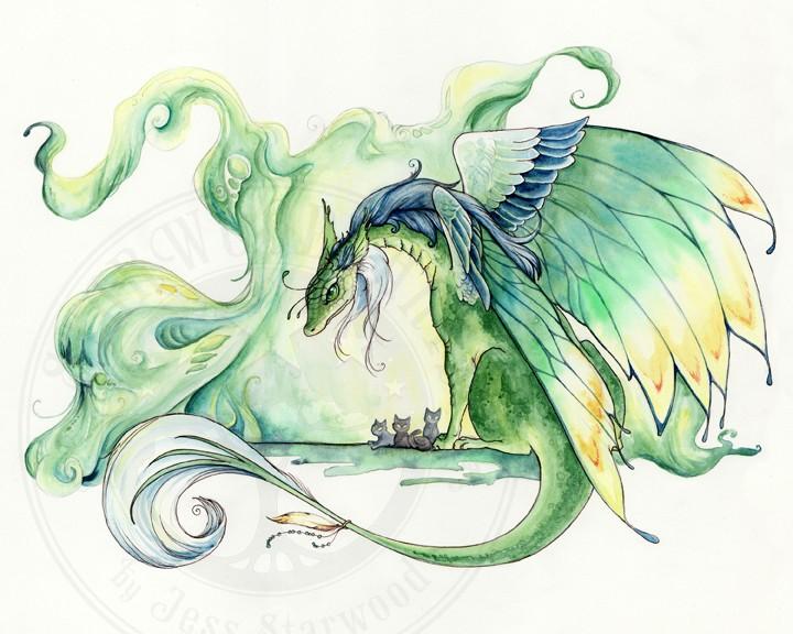 Good green dragon and tiny grey kittens tattoo design