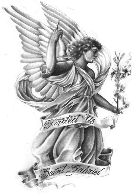 Good grey angel keeping floral stem and long stripe tattoo design