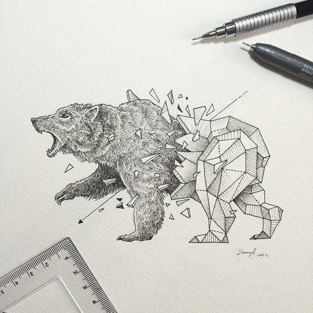 Good grey half-geometric grizzly tattoo design
