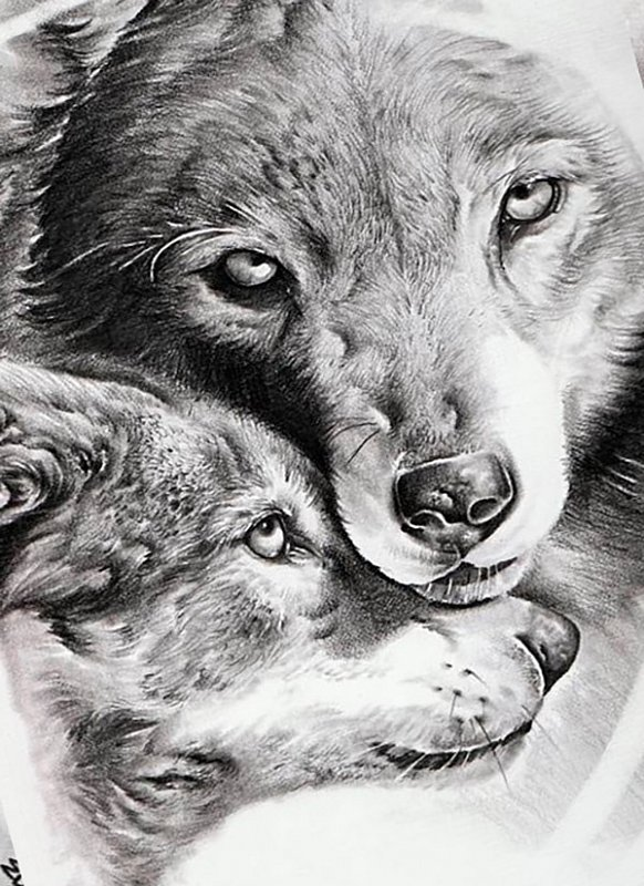 Good mom and cub wolf family tattoo design