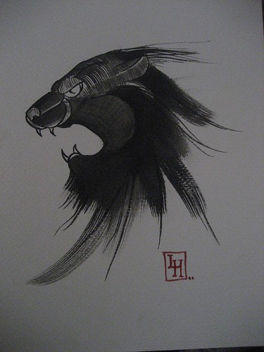 Good old school blurred panther head tattoo design