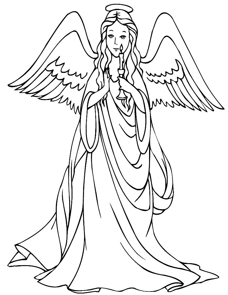 Good outline cartoon angel with a candle tattoo design