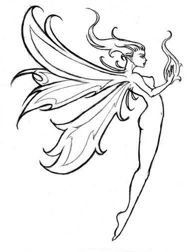 Good outline fire fairy tattoo design