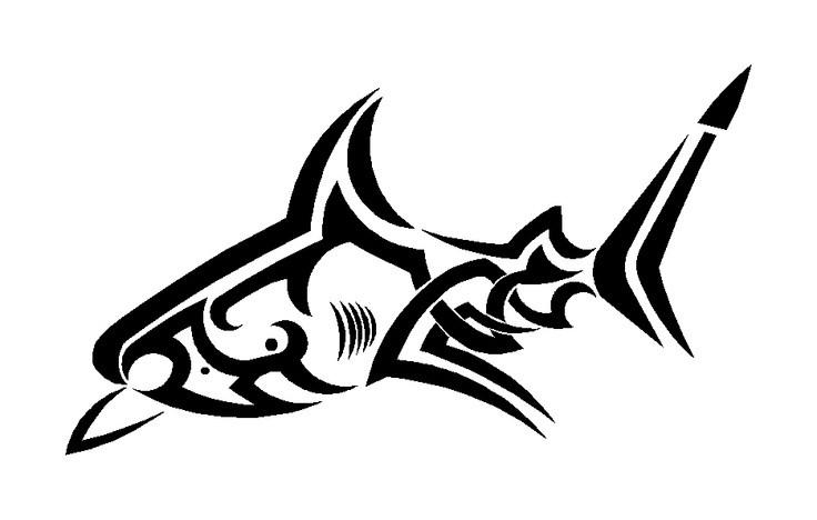 Good outline tribal shark tattoo design
