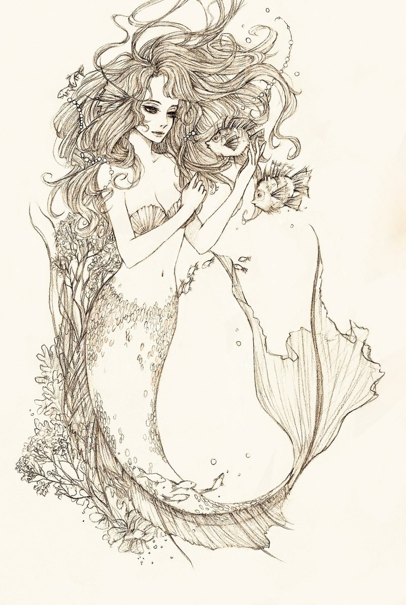 Good pencilwork mermaid playing with fishes tattoo design