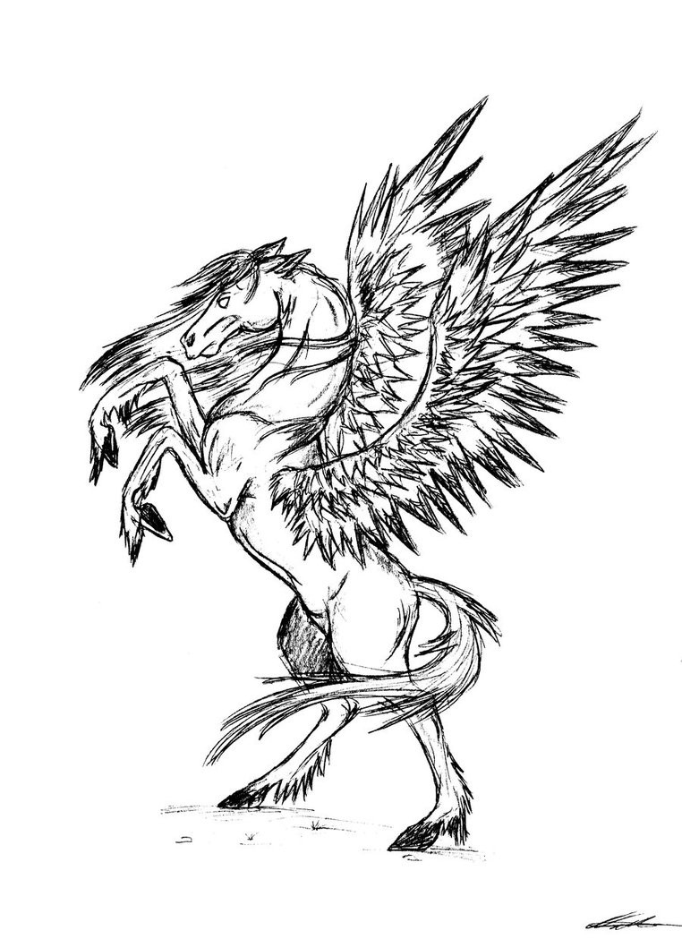 Good pencilwork pegasus standing on hindquarters tattoo design by Lady Envy