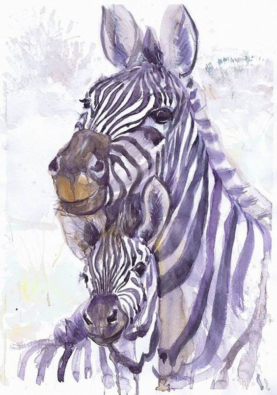 Good purple watercolor embracing zebra family tattoo design