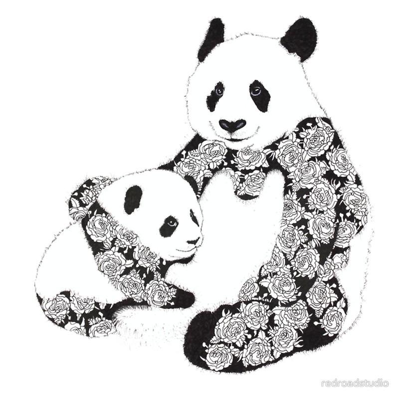 Good rose-ornamented panda family tattoo design