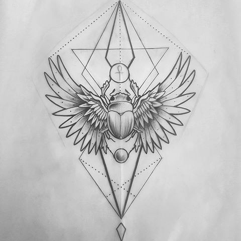 good scarab bug with bird wings on geometric drawings tattoo design. Black Bedroom Furniture Sets. Home Design Ideas
