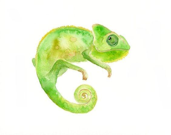 Good tiny green chameleon spy tattoo design