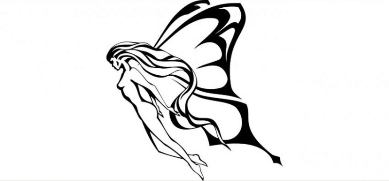 Good tribal flying fairy in black color tattoo design