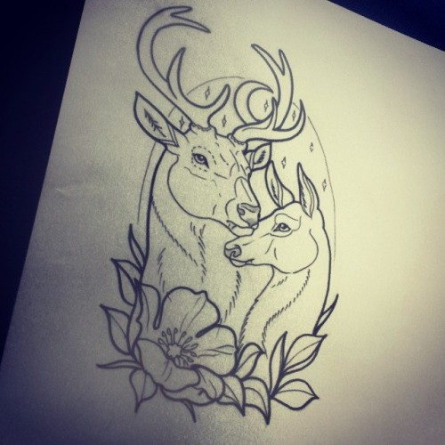 Good uncolored embracing mom deer and her cub tattoo design