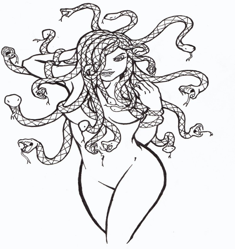 Good uncolored naked medusa gorgona tattoo design by Re Coil