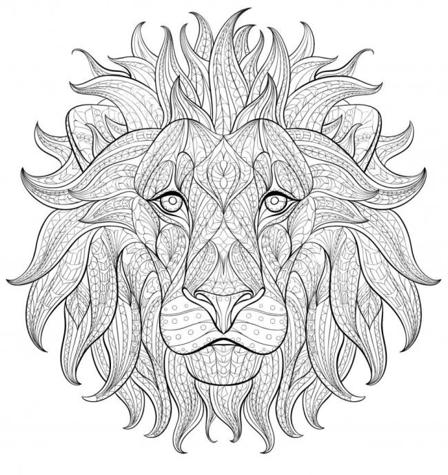 Good uncolored ornamented lion face tattoo design