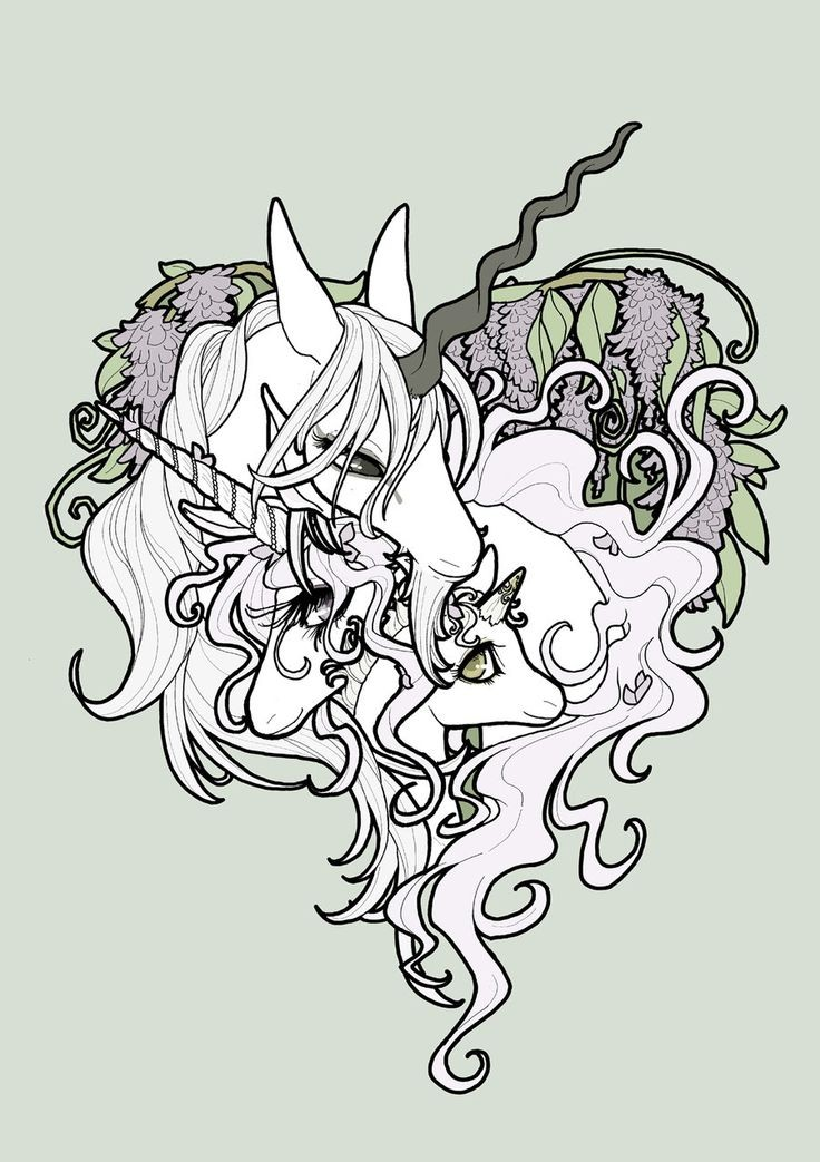 Good white unicorn family with colorful vine background tattoo design