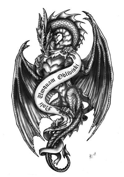 gorgeous blackandwhite dragon with gothiclettered