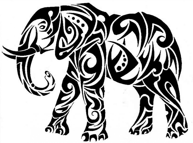 Gorgeous black-ink tribal mammoth walking forward tattoo design