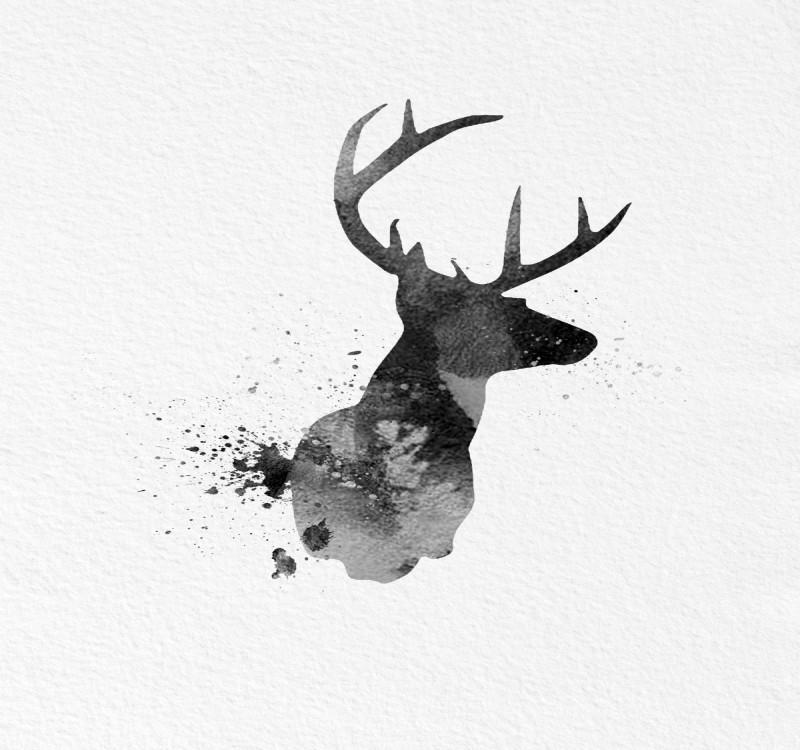 gorgeous black watercolor deer silhouette tattoo design