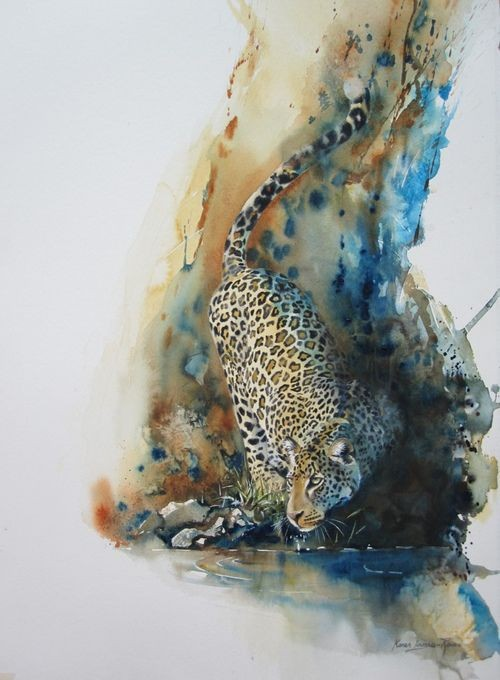 Gorgeous colorful hunting leopard on huge watercolor background tattoo design