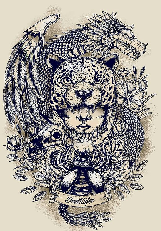 Gorgeous colorless girl and jaguar head with detailed background tattoo design
