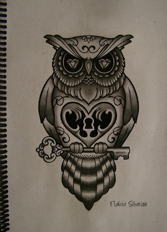 Gorgeous diamond-eyed owl keeping a key tattoo design - Tattooimages.biz