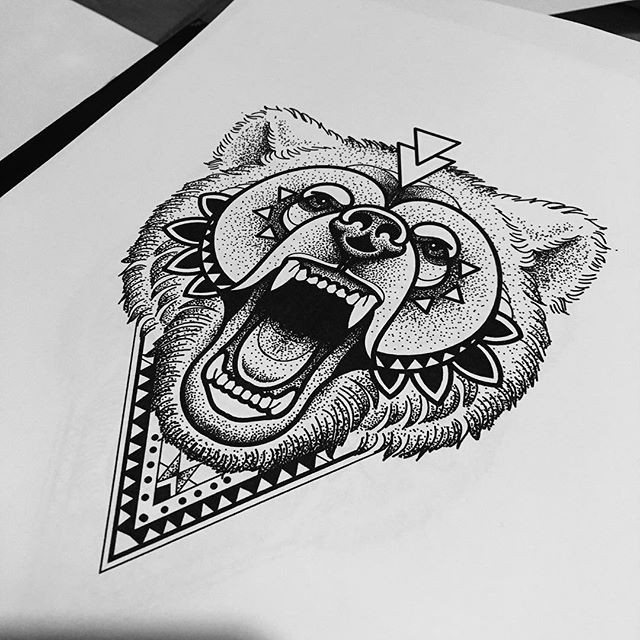 Gorgeous dotwork style screaming grizzly with geometric elements tattoo design
