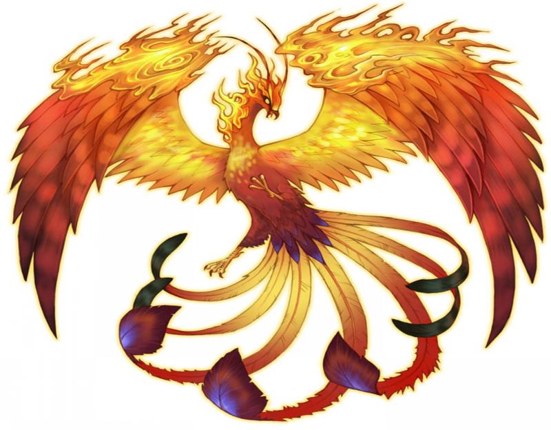 Gorgeous elegant flaming orange phoenix tattoo design