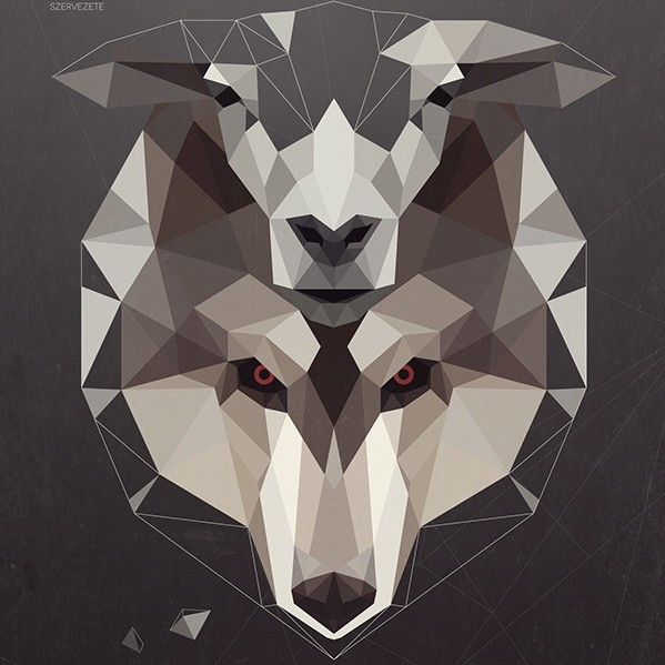 Gorgeous full-geometric sheep and wolf heads tattoo design