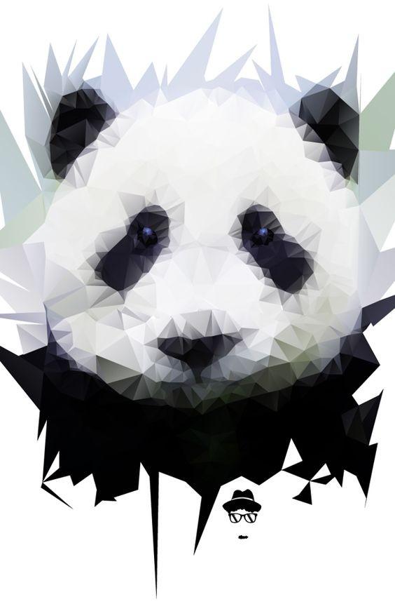 Gorgeous geometric panda portrait tattoo design