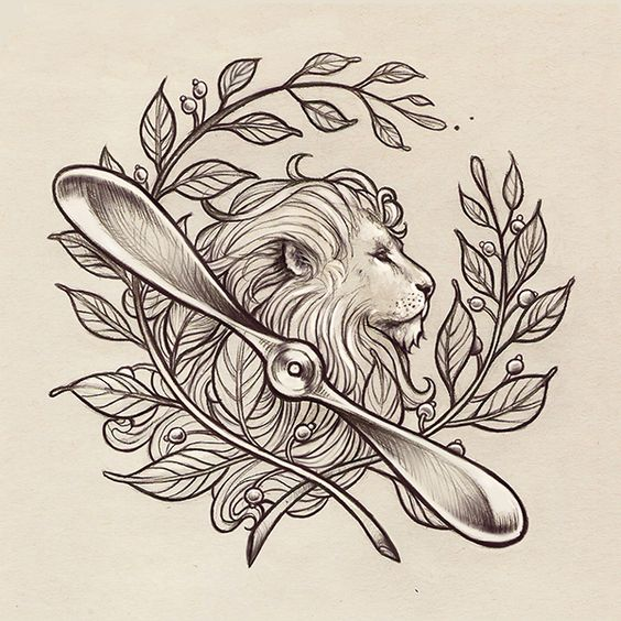 Gorgeous grey lion in laurel wreath frame with a propeller tattoo design