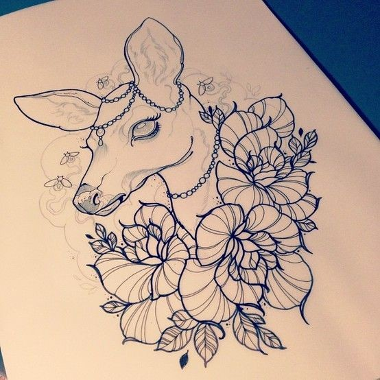 Gorgeous new school deer surrounded with flowers tattoo design