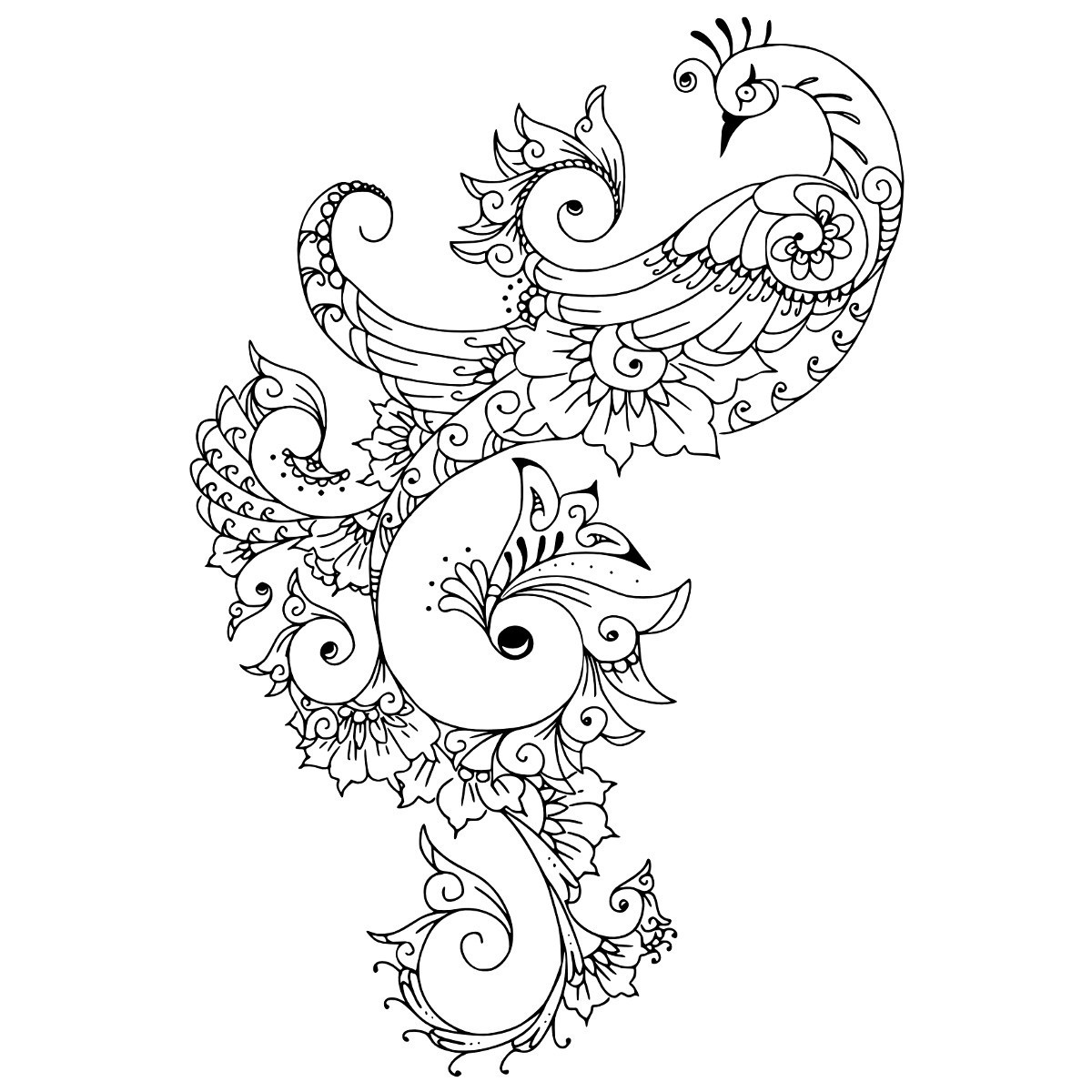 gorgeous ornate tribal peacock tattoo design. Black Bedroom Furniture Sets. Home Design Ideas