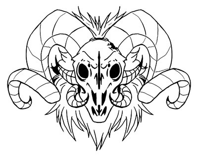 Gorgeous Outline Ram Skull With Fur Neck Tattoo Design