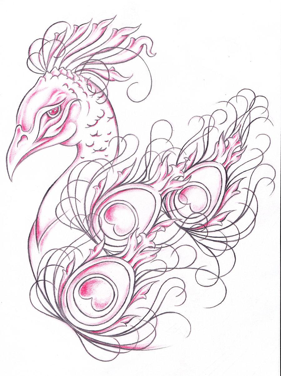 Peacock flower tattoo designs - Gorgeous Peacock Tattoo Design By Jinx2304