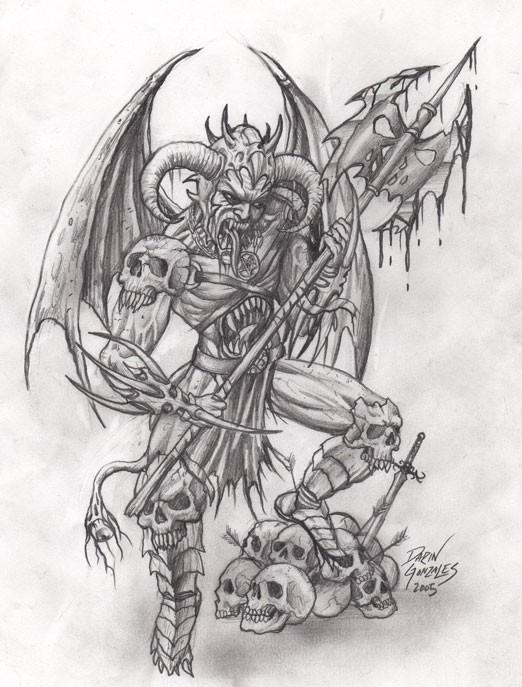 gorgeous pencilwork demon warrior standing on a pile of skulls tattoo design by arcane serpent. Black Bedroom Furniture Sets. Home Design Ideas