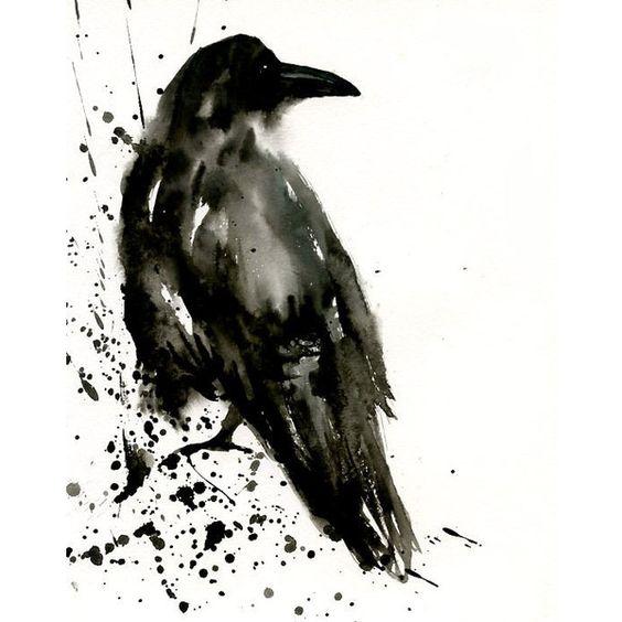 Gorgeous raven in lack splashes tattoo design