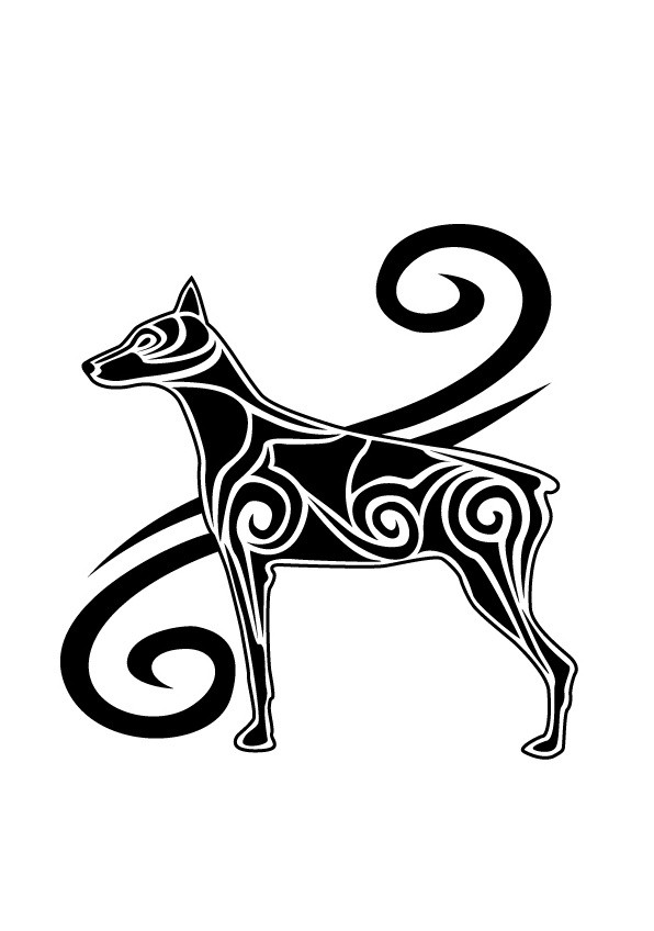 Gorgeous strong tribal doberman tattoo design by Magical Viper