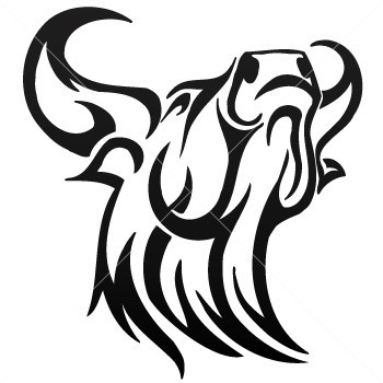 gorgeous tribal bull head tattoo design. Black Bedroom Furniture Sets. Home Design Ideas