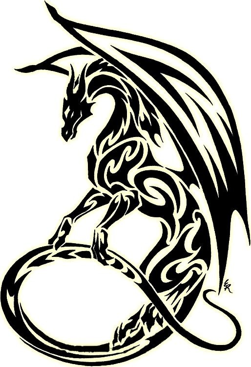 Gorgeous tribal dragon in black color tattoo design