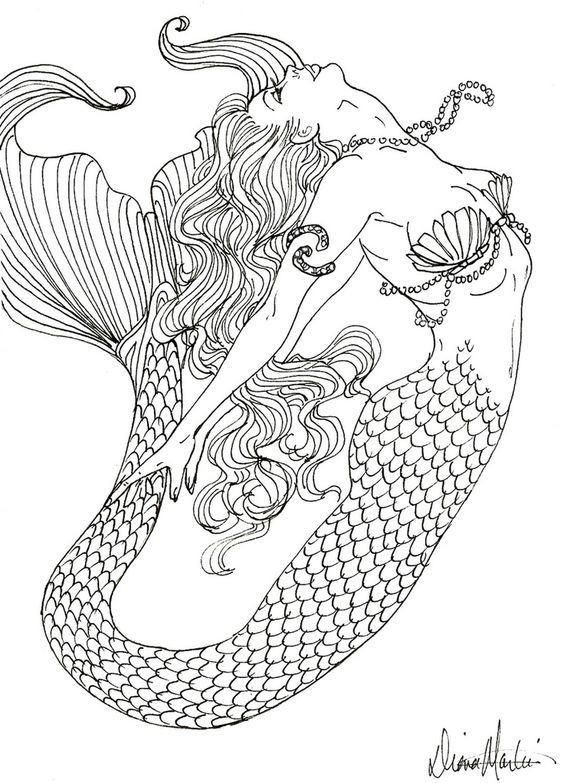 Gorgeous uncolored mermaid tattoo design