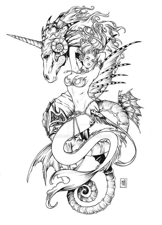 Gorgeous uncolored streaching mermaid and snake-body unicorn tattoo design