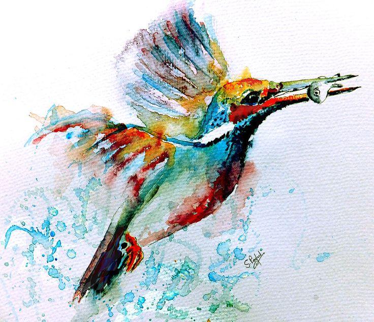 Gorgeous watercolor bird keeping a fish in beak tattoo design