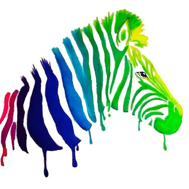 Gorgeous watercolor zebra in smudges tattoo design