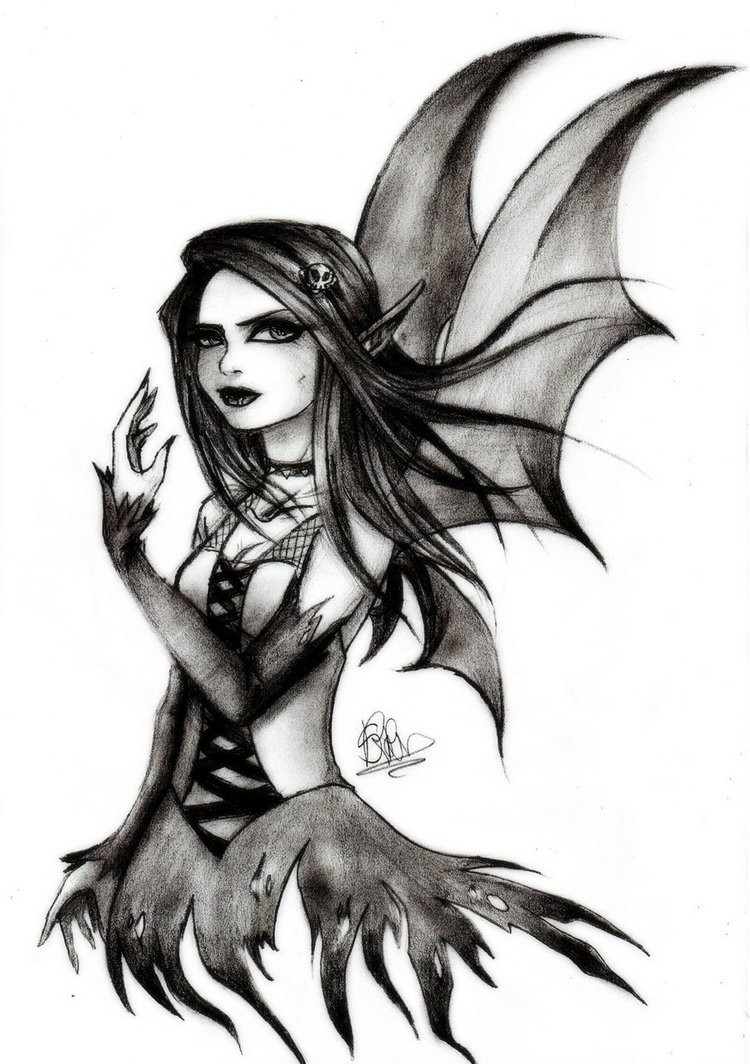 Gothic black-and-white pencilwork fairy tattoo design