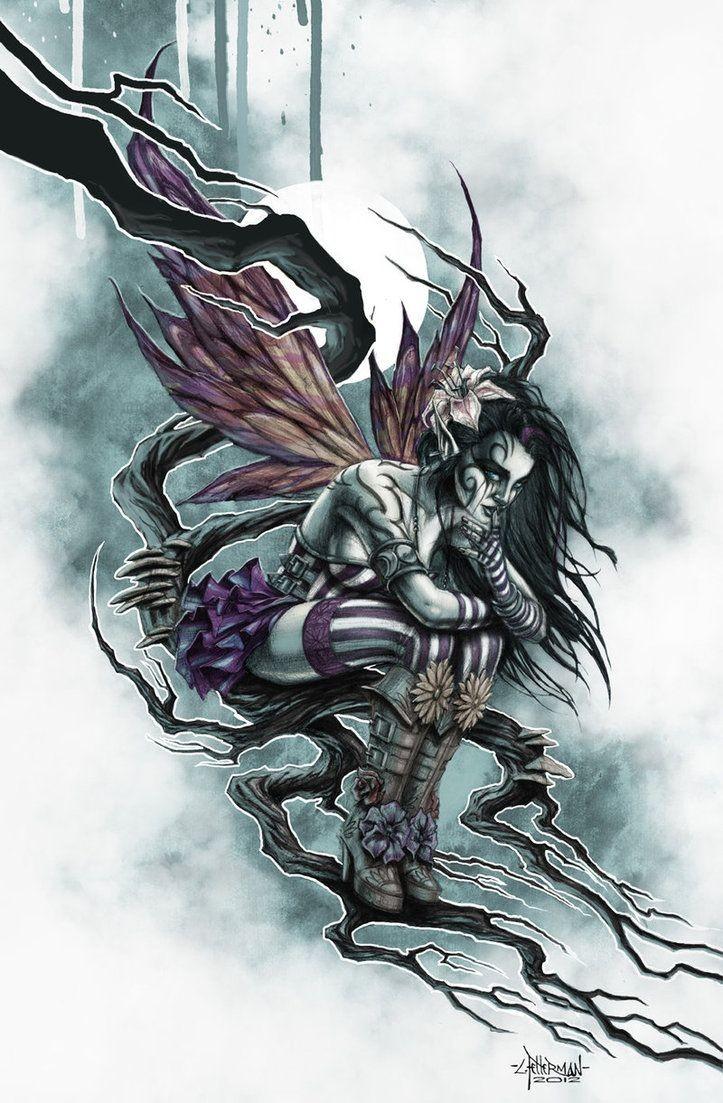 Gothic steampunk fairy sitting on branch in moonlight tattoo design