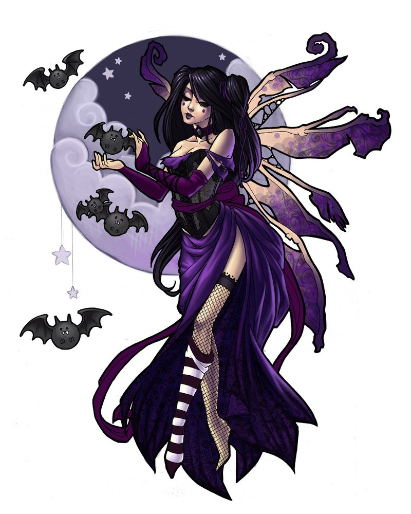 Gothic violet-color fairy with flying bats and full moon tattoo design