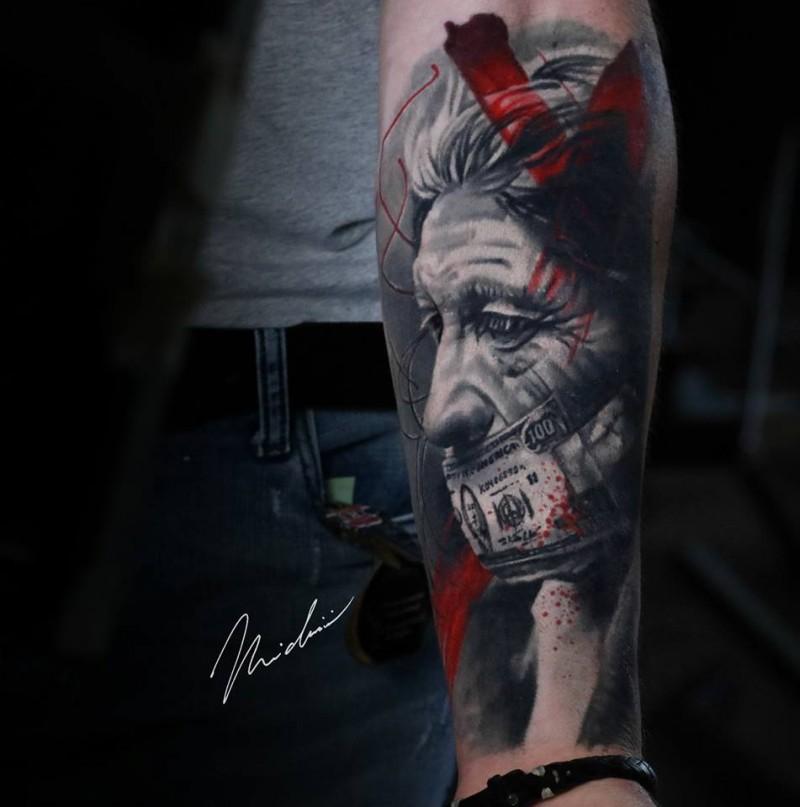 Graet realistyc portrait tattoo on forearm