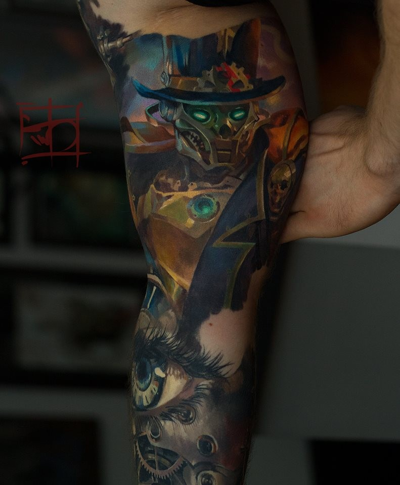 Graet steampunk robot tattoo on inner arm