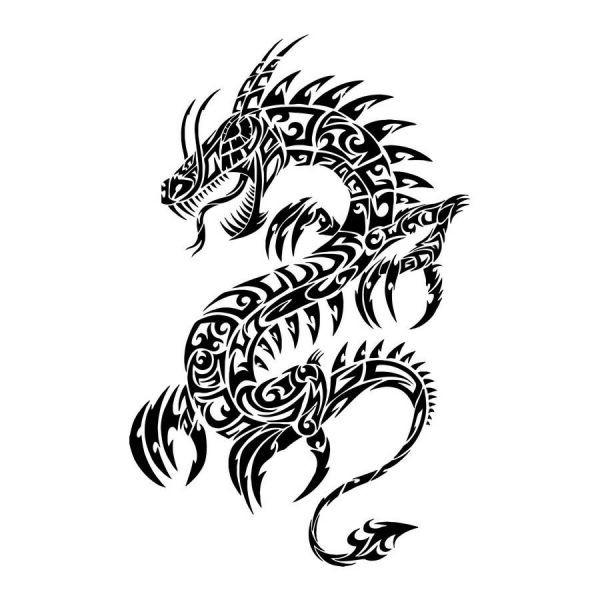 grand black tribal dragon tattoo design. Black Bedroom Furniture Sets. Home Design Ideas